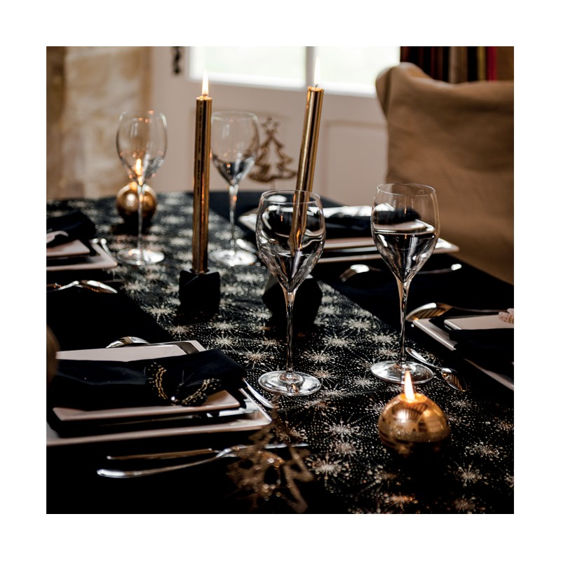 chemin de table noir feux d 39 artifice argent. Black Bedroom Furniture Sets. Home Design Ideas
