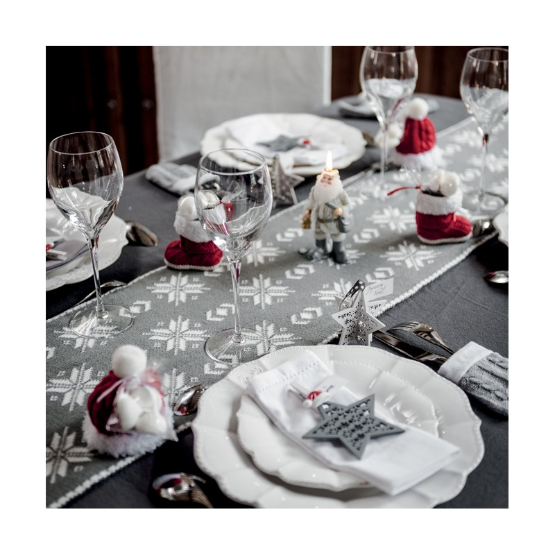 Chemin de table flocons en laine gris et blanc for Chemin de table gris
