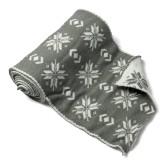 Chemin de table flocons en laine gris et blanc