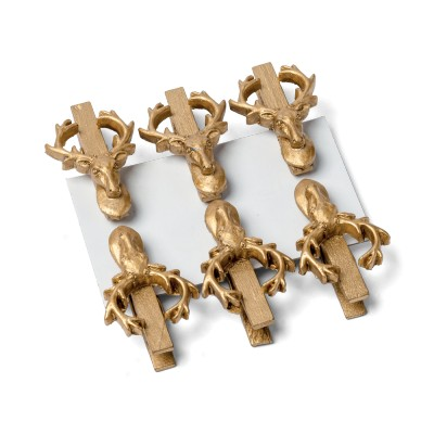 Pince tête de cerf (x6) or