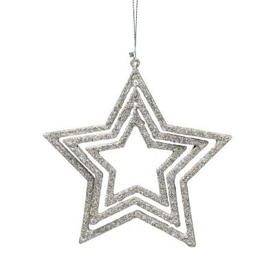 Suspension triple étoiles argentées et pailletées