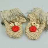 Paire de gant avec boutons en jute