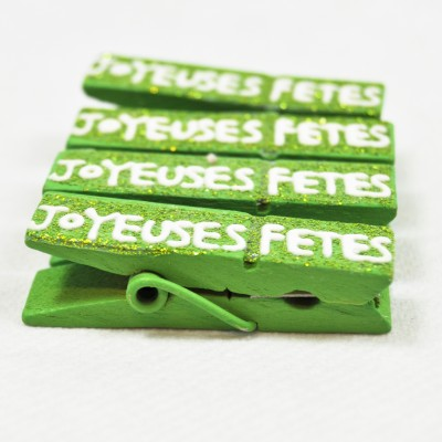 Pinces « Joyeuses fêtes » (x4) vert anis
