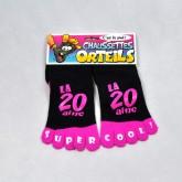 """Chaussettes orteils """"20 aine"""" noire & fuchsia"""