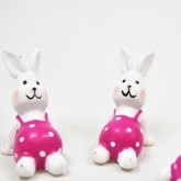 Petits lapins sur stickers (x4) blanc / fuchsia