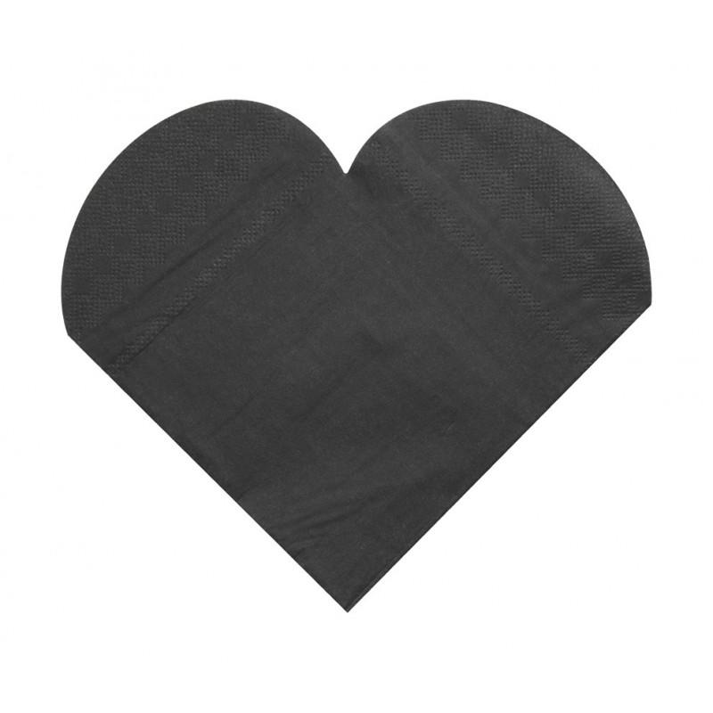 Serviettes de table forme coeur x20 noir for Serviette de table noir