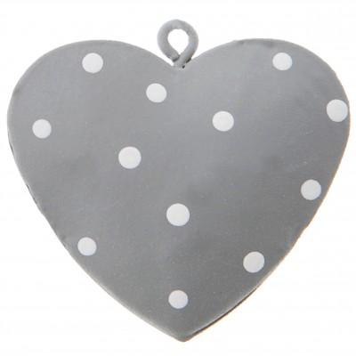 Cœurs plumetis en métal gris blanc (x4)