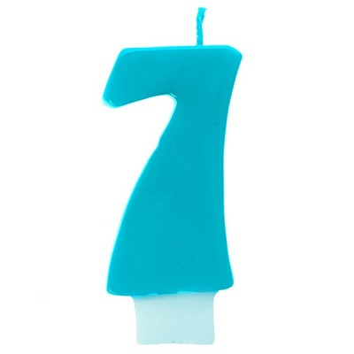 Bougie chiffre 7 turquoise