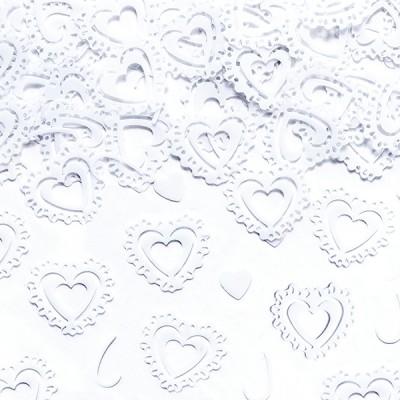 Confettis cœurs dentelle blanc