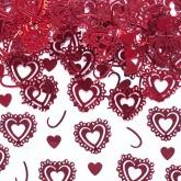 Confettis cœurs dentelle rouge