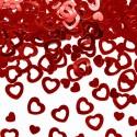 Confettis cœurs métallisés rouge