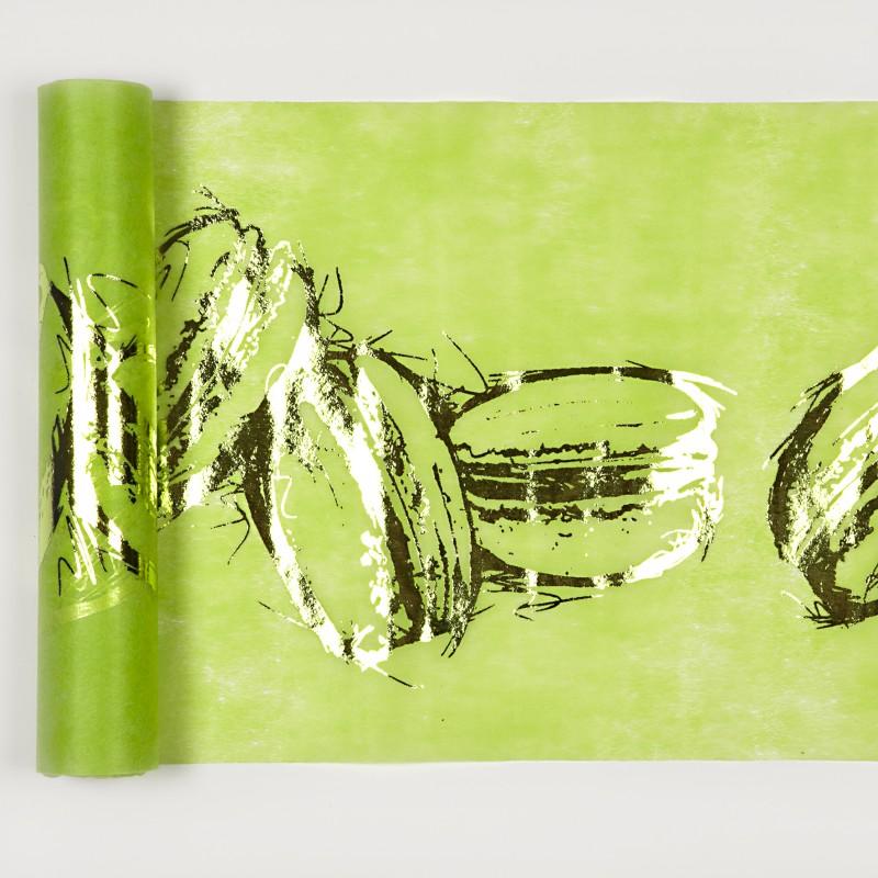 Chemin de table macarons vert anis for Nappe et chemin de table en papier