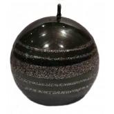 Bougie ronde grise motif rayures argent pailleté