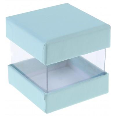 Mini boîtes cubes x6 bleu pastel