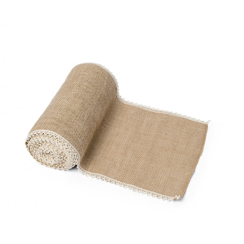 Chemin de table en toile de jute avec dentelle for Deco chemin de table
