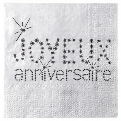 Serviettes Joyeux anniversaire (x20) gris