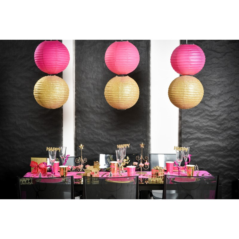 lampions d coratifs x2 fuchsia. Black Bedroom Furniture Sets. Home Design Ideas