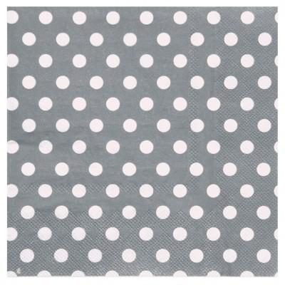 Serviettes à pois (x20) argent / blanc