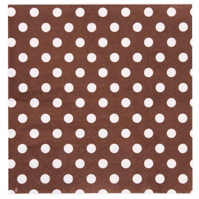 Serviettes à pois (x20) chocolat / blanc