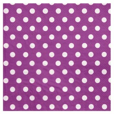 Serviettes à pois  (x20) prune / blanc