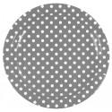 Assiettes à pois (x10) gris