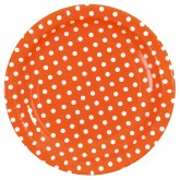 Assiettes à pois (x10) orange