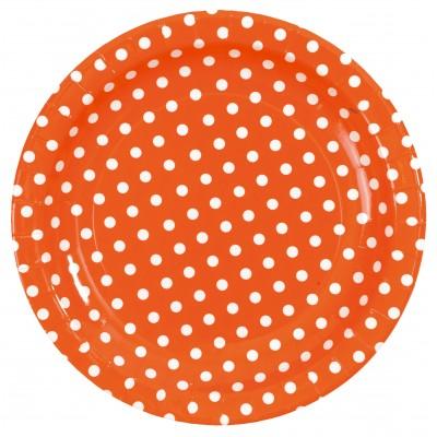 Assiettes à pois (x10) orange