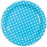 Assiettes à pois (x10) turquoise