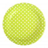 Assiettes à pois (x10) vert anis