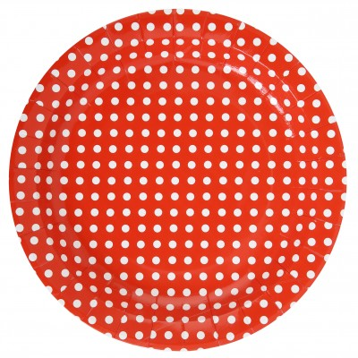 Assiettes à pois (x10) rouge