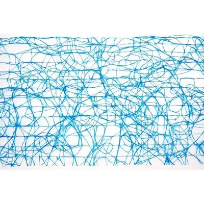 Chemin de table large maillage bleu