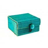 Coffre en rotin turquoise