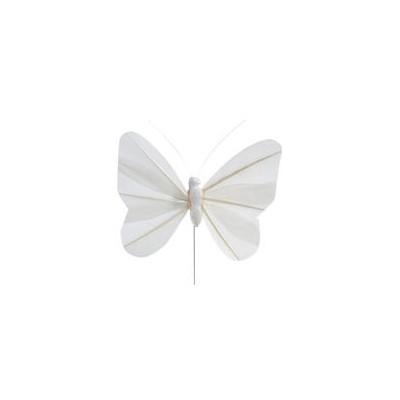 Papillons unis sur tige (x6) Blanc