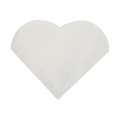Mini serviettes cocktail forme cœur blanc (x20)
