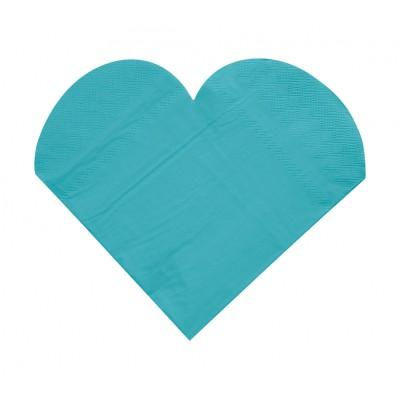 Serviettes de table forme coeur (x20) turquoise