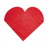 Serviettes de table forme coeur (x20)rouge