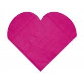 Serviettes de table forme coeur (x20) fuchsia