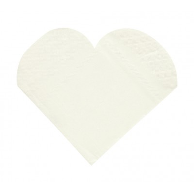 Serviettes de table forme coeur (x20) blanc