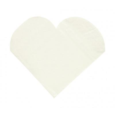 Serviettes de table forme coeur (x20) blanc