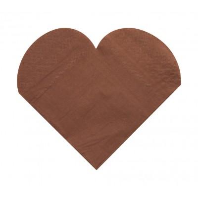 Serviettes de table forme coeur (x20) chocolat