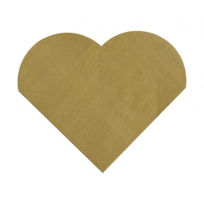 Serviettes de table forme coeur (x20) or