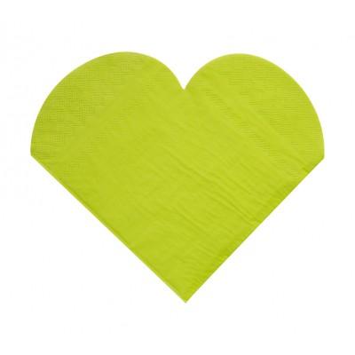 Serviettes de table forme coeur (x20) vert anis