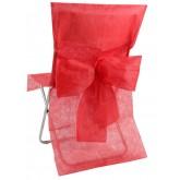 Housses de chaise rouges (x10) + noeud en non tissé