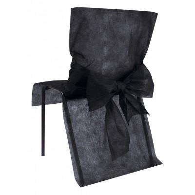 Housses de chaise noires (x10) + noeud en non tissé