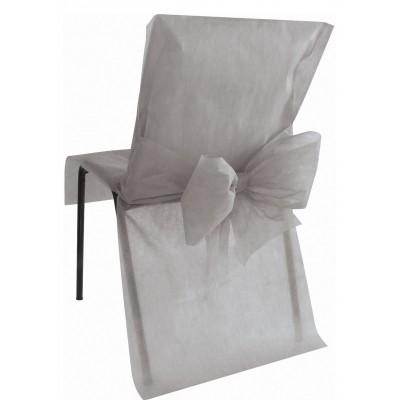Housses de chaise grises (x10) + noeud en non tissé