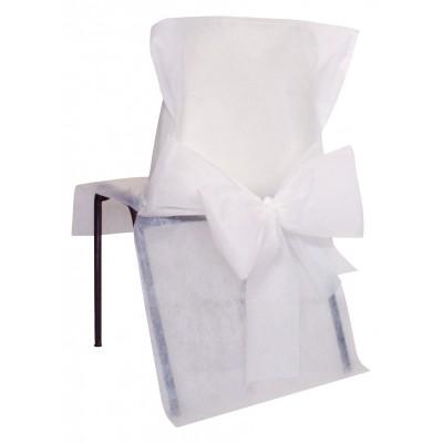 Housses de chaise blanches (x10) + noeud en non tissé