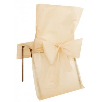 Housses de chaise ivoire (x10) + noeud en non tissé