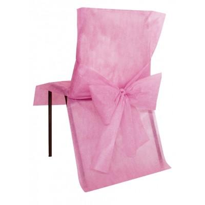 Housses de chaise roses (x10) + noeud en non tissé