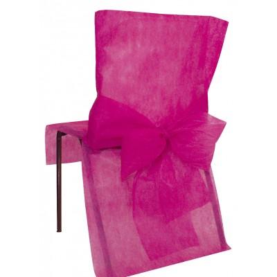 Housses de chaise fuchsias (x10) + noeud en non tissé
