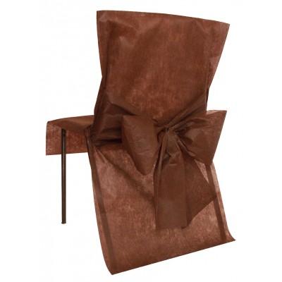 Housses de chaise chocolat (x10) + noeud en non tissé